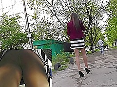 Transparent pantyhose and pretty ass win upskirted