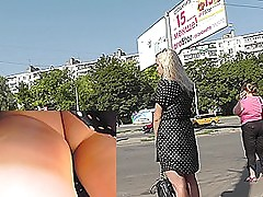 Hot uncalculated upskirt pics with sexy blondedame
