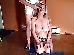 Busty mediocre blonde giving me a nice blowjob