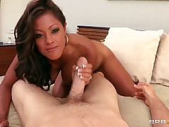 Horny black chick sucks this pecker like a loly-pop