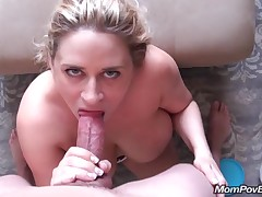 Big boobs MILF flashes in public then sucks and fucks