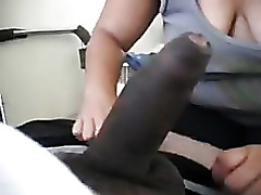 I'm getting my black dick sucked by an amateur chubby