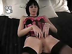 Sexy darksome brown woman i'd like to fuck become man in pink corset and black stockings