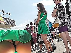 Upskirt outdoor scene filmed at the lock up bus stem