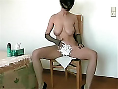 Busty woman i'd like to fuck wife in burnish apply mask shaves her vagina on livecam