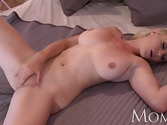 MOM Blonde squander teases up camera then has orgasm