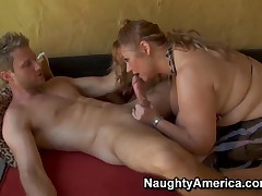 A Milf Samantha with the brush big melons sucks a young phallus