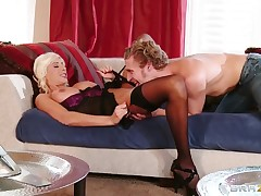 Fashionable Puma Swede having an affair at hand a guy at hand curly hair