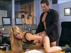 Gorgeous milf all round boots Jessica Drake gets slammed on a desk