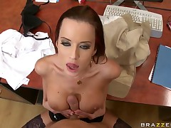 Cindy Dollar gets her big tits coupled with hot pussy banged convenient be passed on office