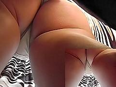 Upskirt XXX video presents hot blonde's ass cheeks