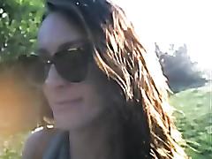 Camgirl almost caught masturbating in public park