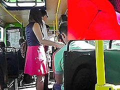 Upskirt outdoor chapter respecting hot lady in A-line skirt