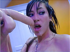 Sloppy dildo blowjob on webcam