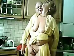 Petting time yon my 62 yo shot haired granny in kitchen