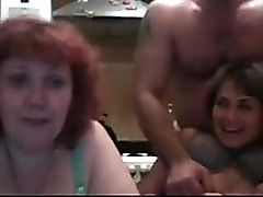 Russian three-some party - a handful of matures and 1 guy