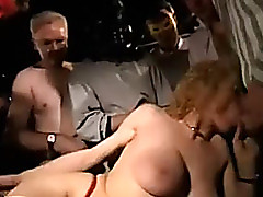 Lascivious blonde mother I'd like to fuck gets bagbanged by many fuckers