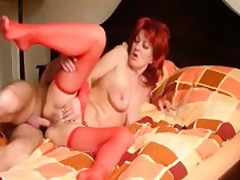 Mature Redhead Slut Takes Cock In The Ass
