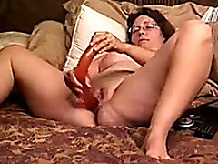 Mature White Broad in the beam Bitch Wife With Enormous Dildo In Her Bed