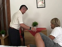 Aged donna in fishnet stockings gulps pair chilly parts