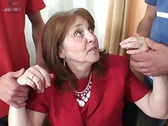 Mind-blowing stagger for mature office donna