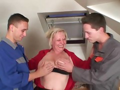 Old widow pleases two repair guys