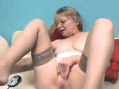 Cute Grandmother With Glasses Masturbates