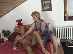 Girlfriends hot mommy helps him cum
