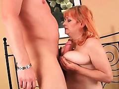 Grandma's boobs call out a cum glazing