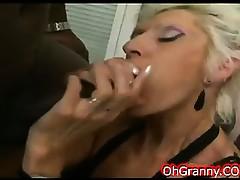 slutty blonde granny on a huge black cock