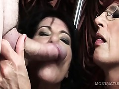 Mature hookers licking man arse and sucking cocks at orgy