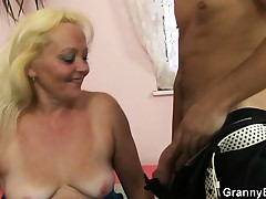 Old light-complexioned rides his cock