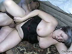 Busty granny is sucking an old cockboth part5
