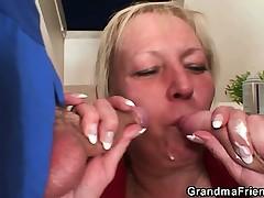 Several repairmen bang busty grandma