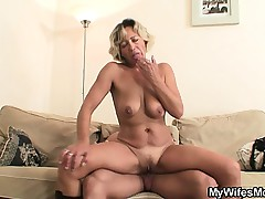 Hot mother-in-law sucks with the addition of rides his horny dick