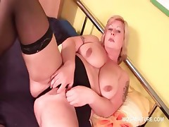 BBW adult baffle stripping increased by chaffing her fat cunt