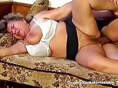 Big fat granny begrimed cock