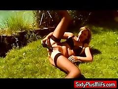 Housewife sunbathing