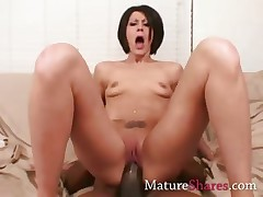 Horny housewife with heavy black dong
