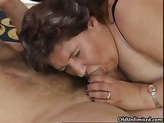 Nasty old slut sucks out of reach of an hard cock part6