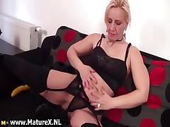 Hot flaxen mature woman stripping part5