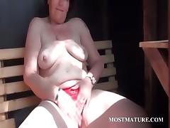 Mature infant rubs pussy involving glum undies