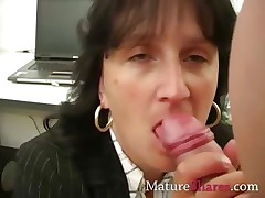 Mature agony aunt giving POV blowjob