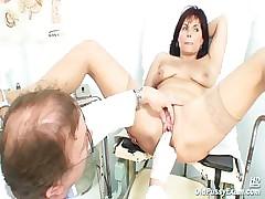Mature Livie pussy examination by horny oddball gyno doctor