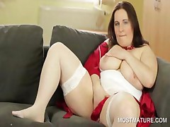 Stockinged mommy similar to one another big boobs