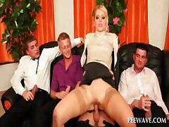 Horny blonde gender four penises