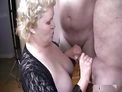 Nice granny down two men