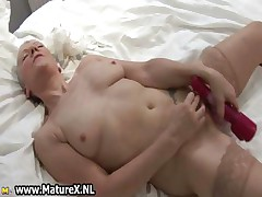 Dirty granny with sexy stockings shagging part1