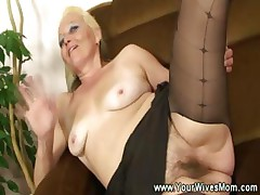 Granny cuts a hole in her pantyhose