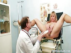 Big tits blond grown-up hairy pussy exam
